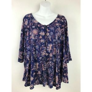 Lucky Brand Purple Floral Print 3/4 Sleeve Top 1X
